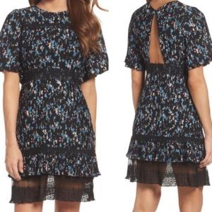 Chelsea28 Pleated Floral & Lace Dress